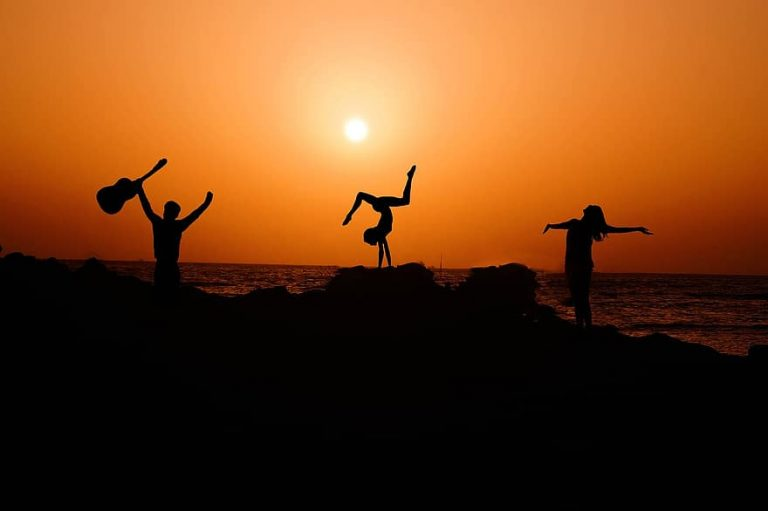 yoga group sunset